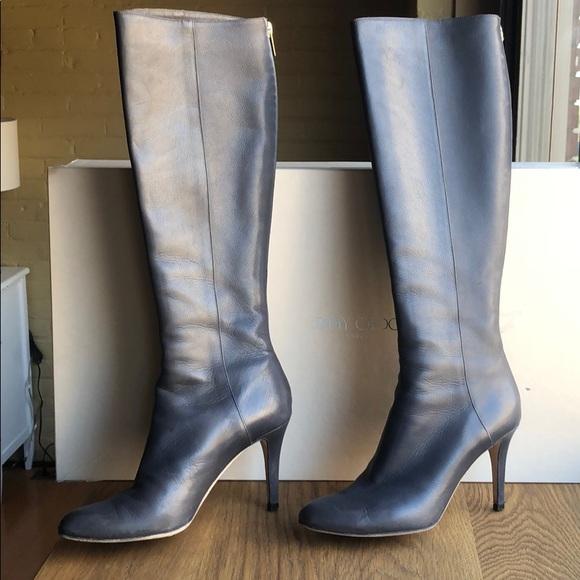Jimmy Choo Grand Boot Knee High In Grey
